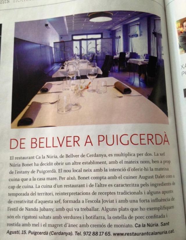 09/10/2015 De Bellver a Puigcerdà Revista Cuina